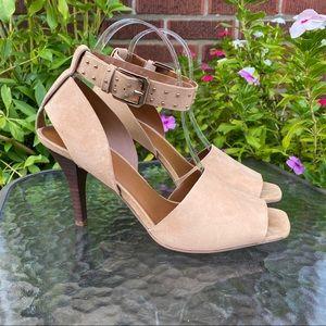 🆕 Franco Sarto Women's Suede Pepita Heeled Sandal